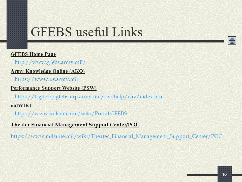 GFEBS useful Links GFEBS Home Page http://www.gfebs.army.mil/
