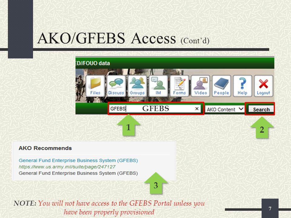 AKO/GFEBS Access (Cont'd)