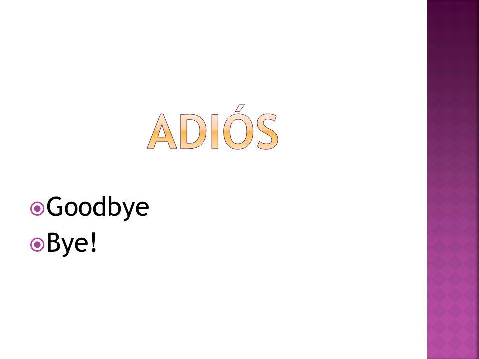 adiós Goodbye Bye!