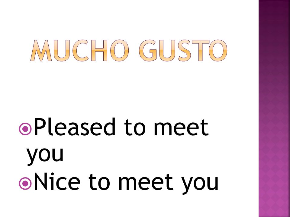 Mucho gusto Pleased to meet you Nice to meet you