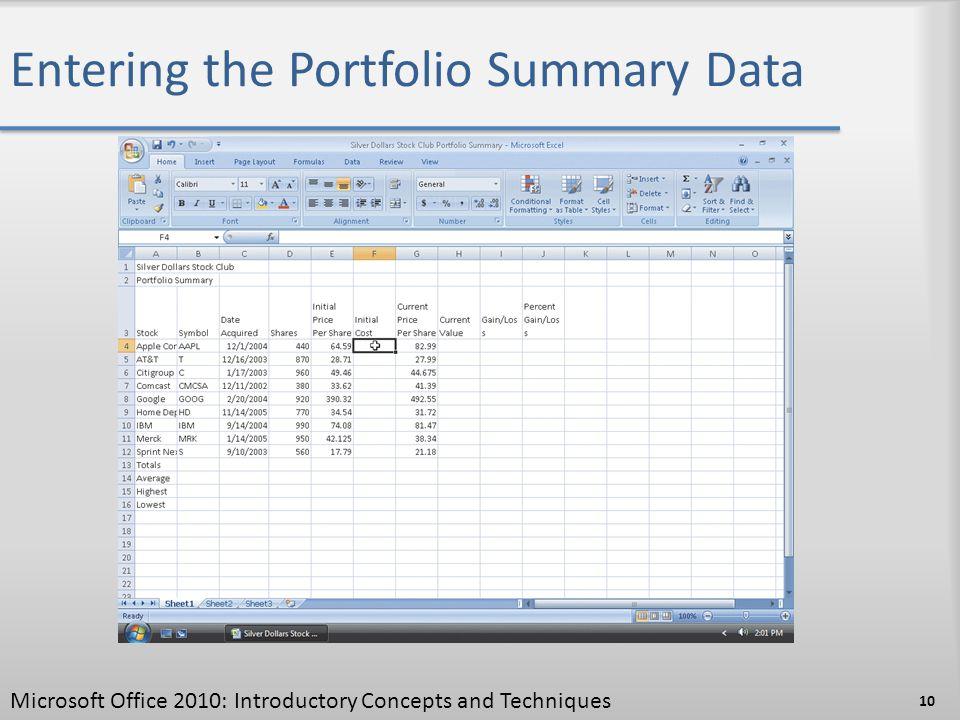 Entering the Portfolio Summary Data