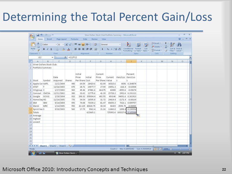 Determining the Total Percent Gain/Loss