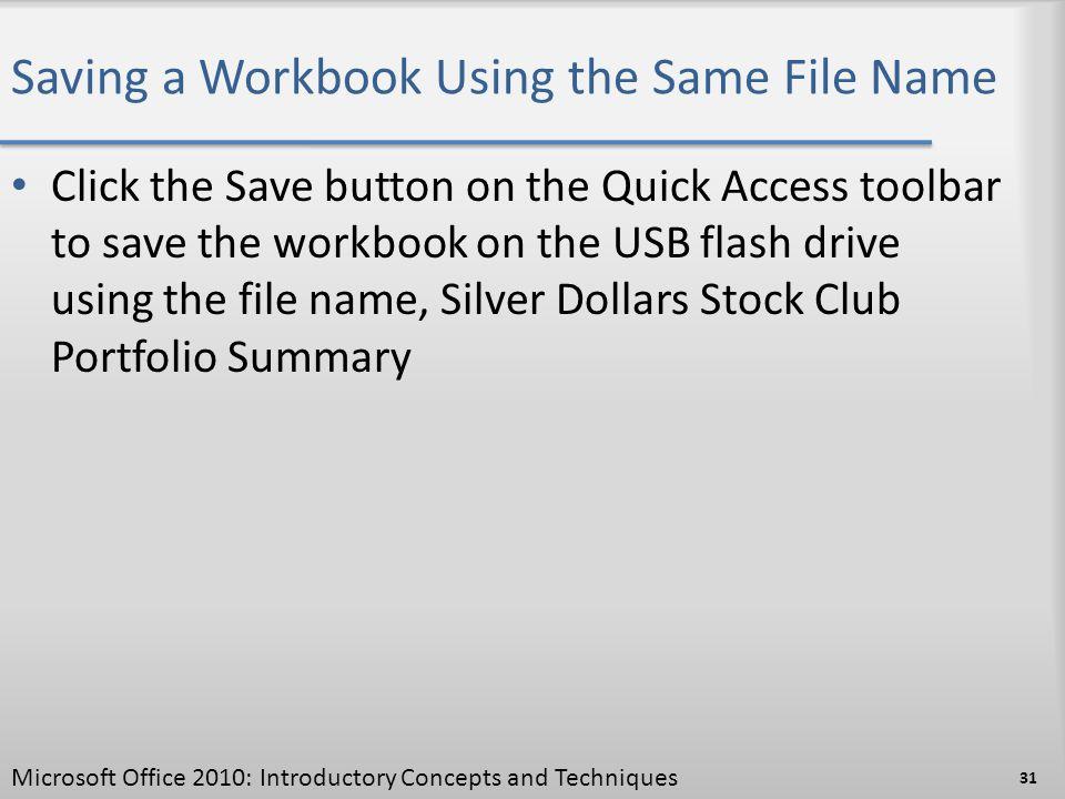 Saving a Workbook Using the Same File Name