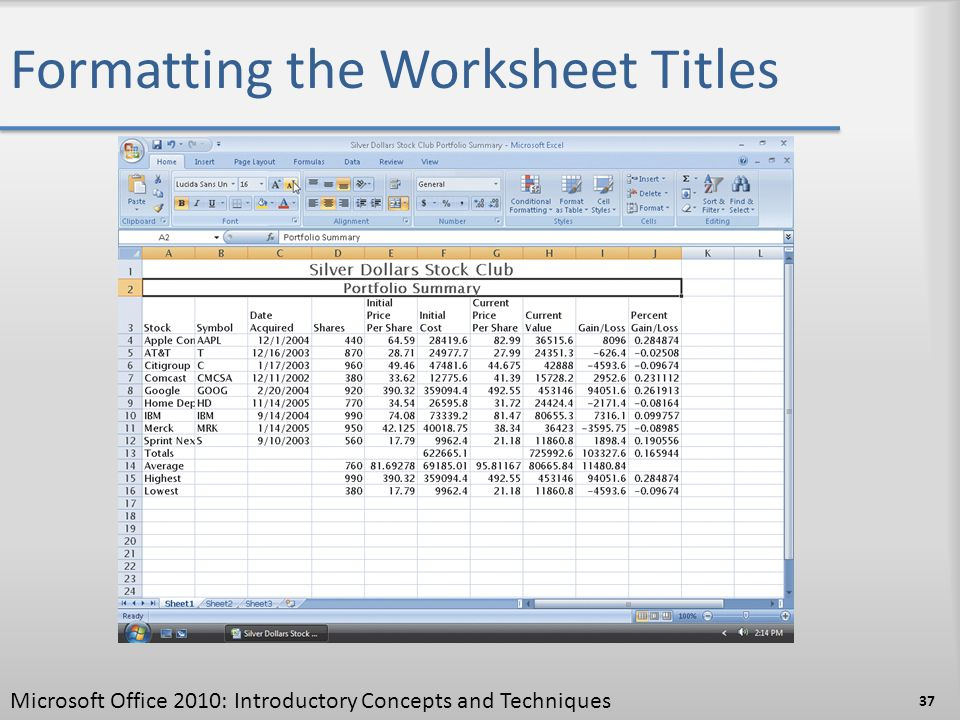 Formatting the Worksheet Titles