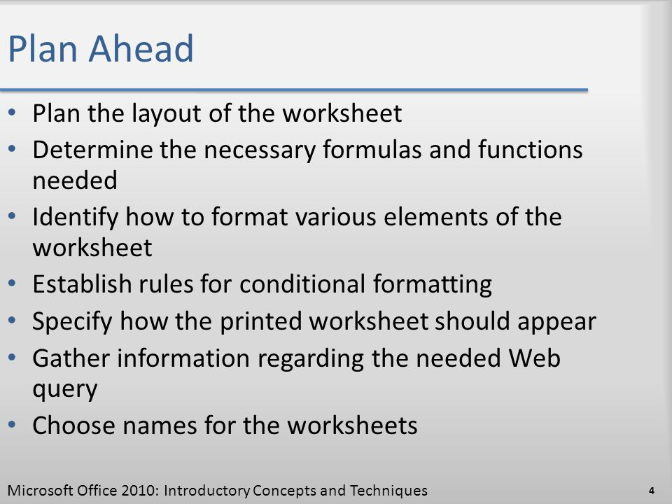 Plan Ahead Plan the layout of the worksheet