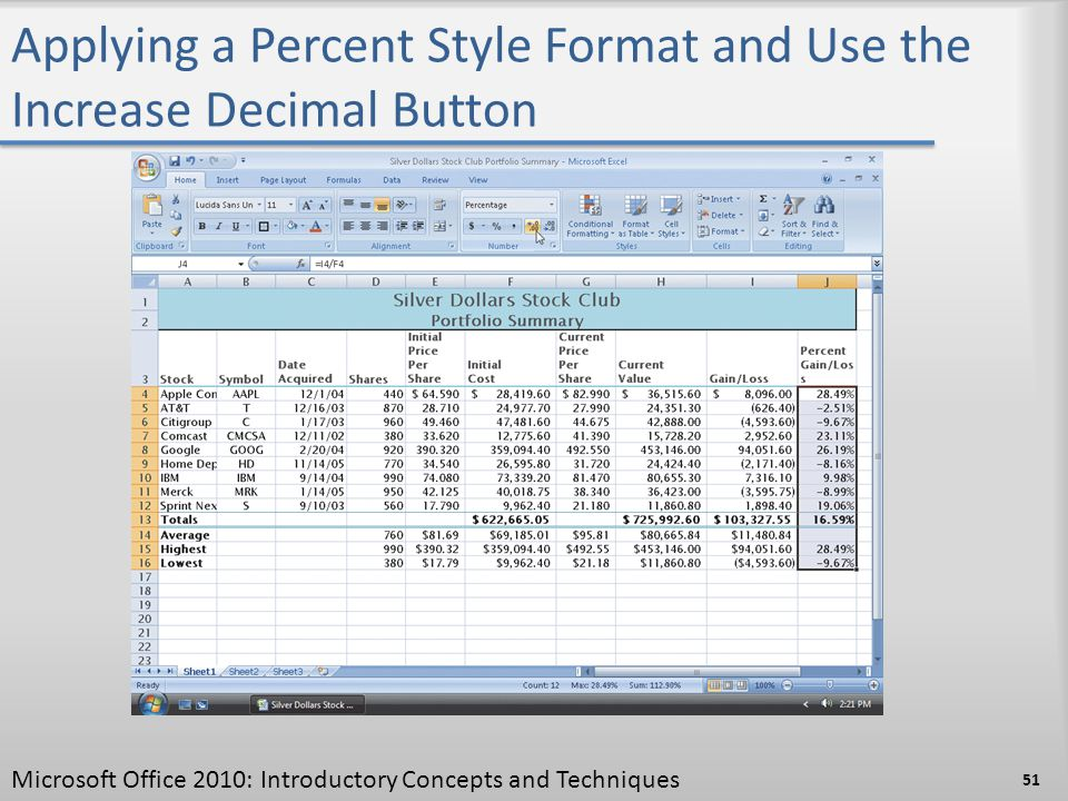 Applying a Percent Style Format and Use the Increase Decimal Button