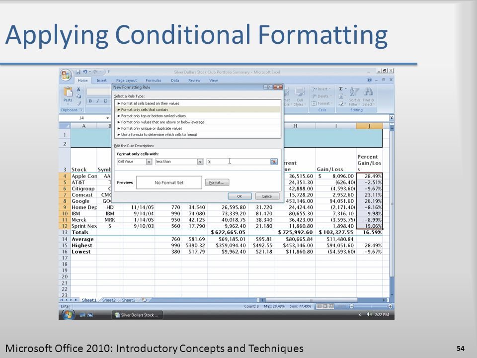 Applying Conditional Formatting