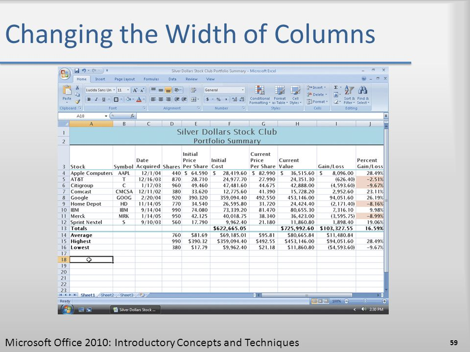 Changing the Width of Columns