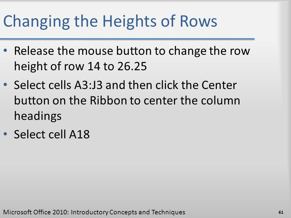 Changing the Heights of Rows