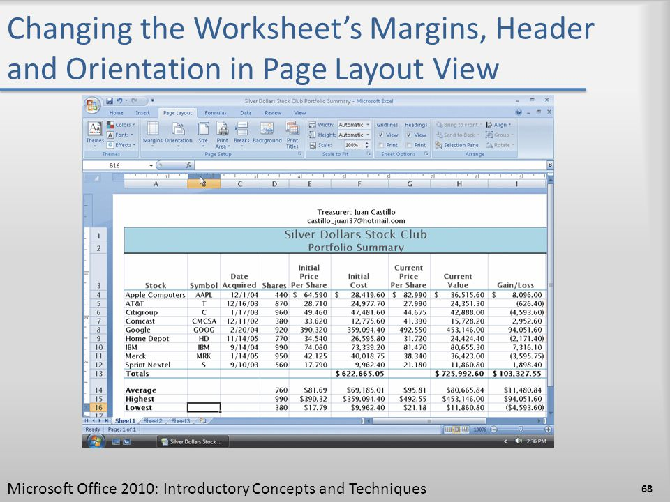 Changing the Worksheet's Margins, Header and Orientation in Page Layout View