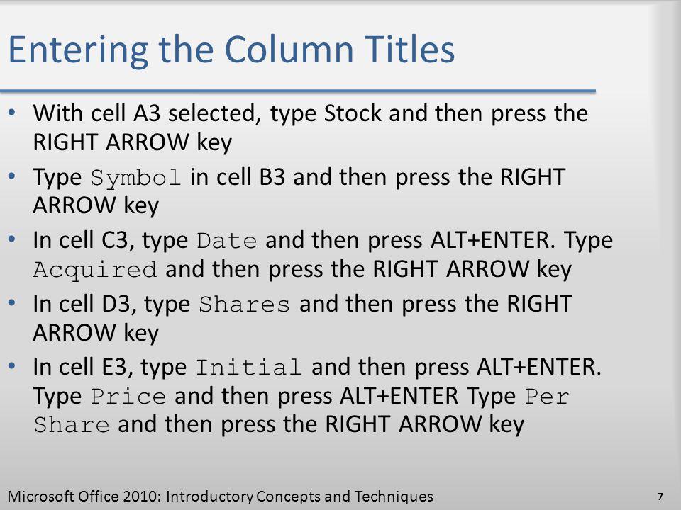 Entering the Column Titles