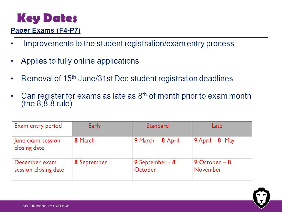Key Dates Improvements to the student registration/exam entry process