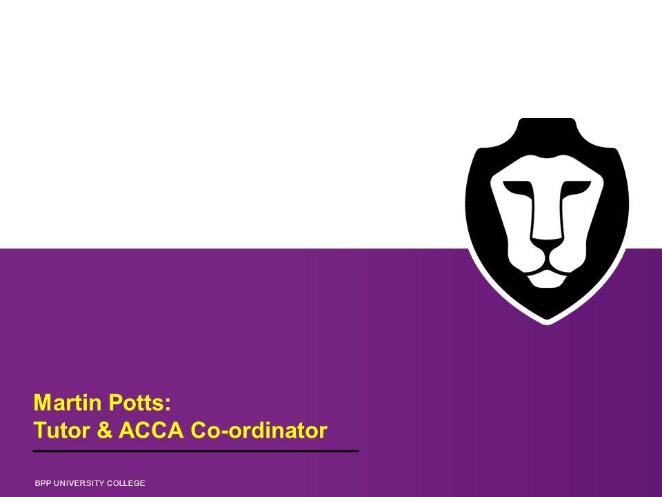 Martin Potts: Tutor & ACCA Co-ordinator