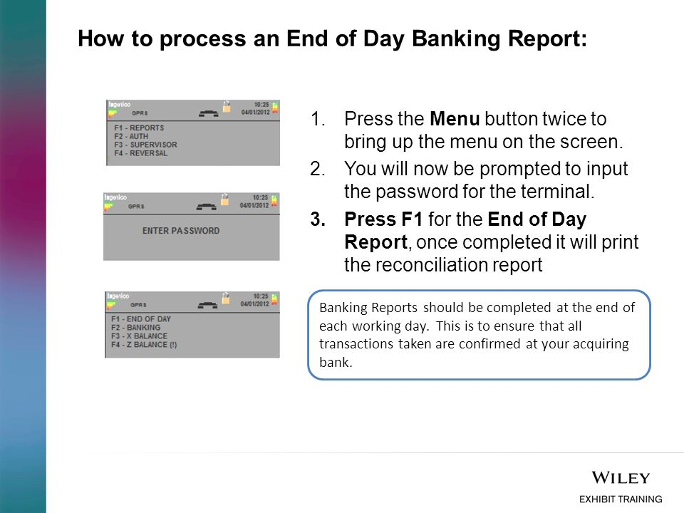 How to process an End of Day Banking Report: