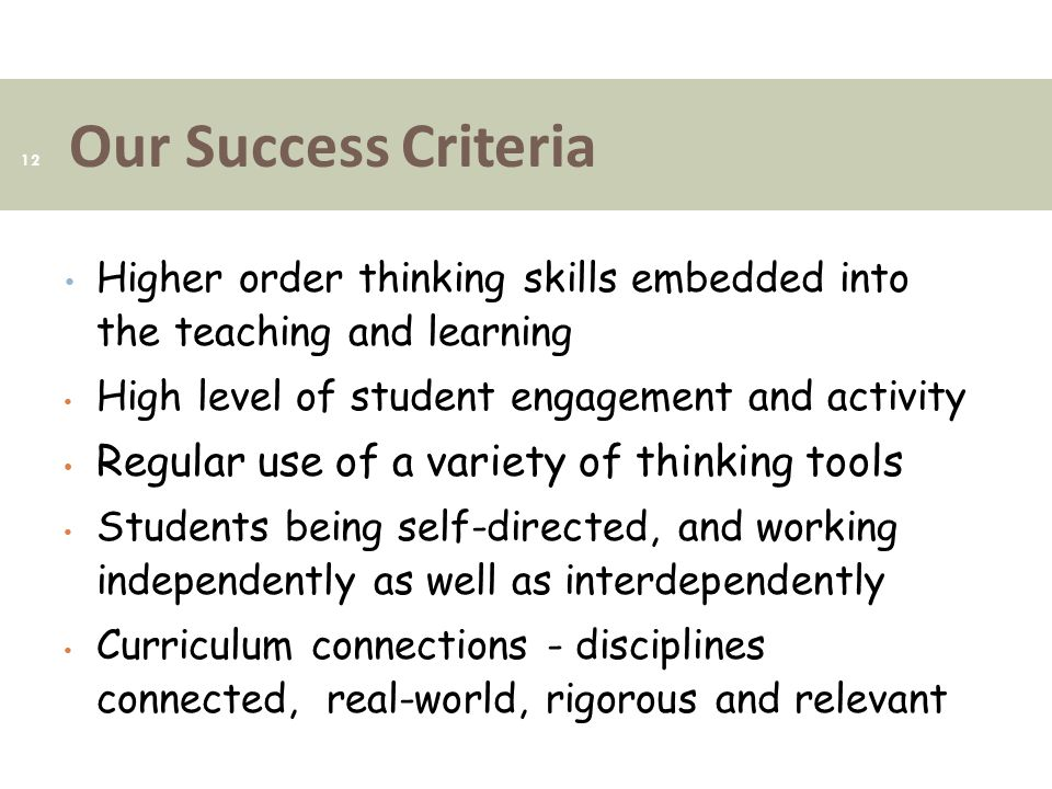 Our Success Criteria Regular use of a variety of thinking tools
