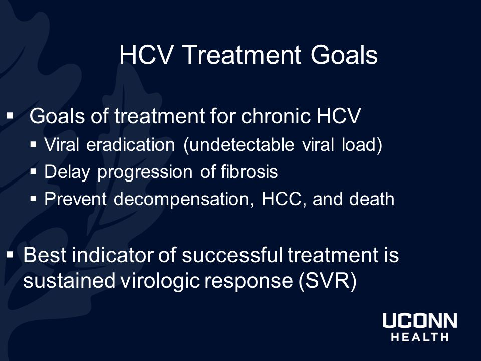 HCV Treatment Goals Goals of treatment for chronic HCV