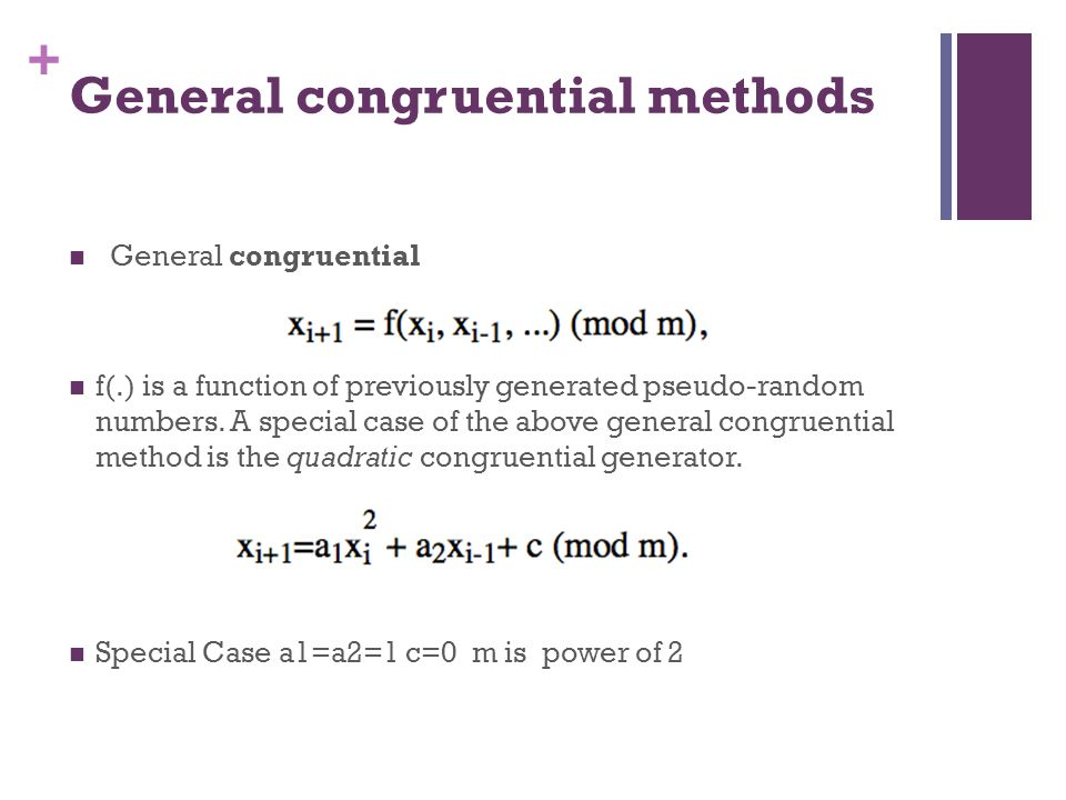 General congruential methods