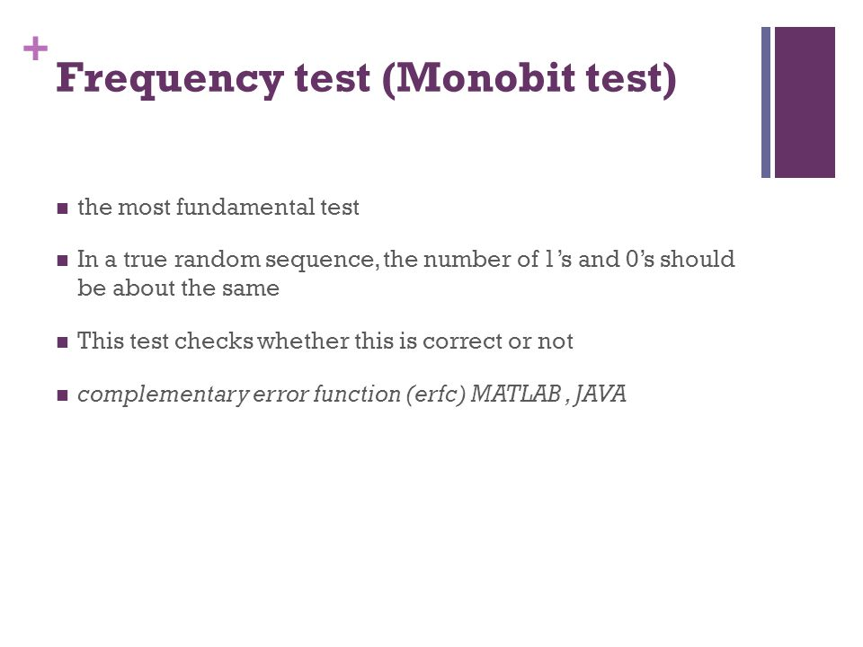 Frequency test (Monobit test)