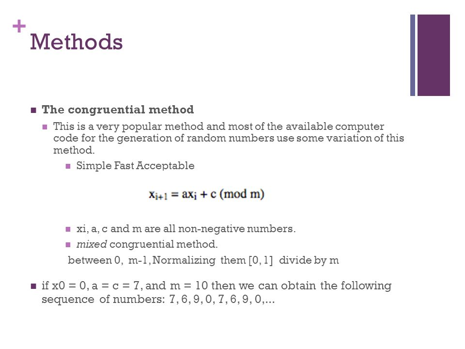 Methods The congruential method