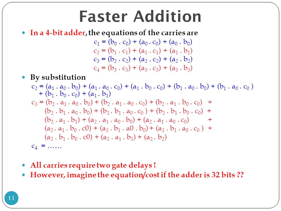 Faster Addition In a 4-bit adder, the equations of the carries are