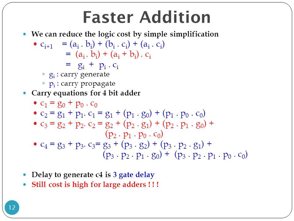 Faster Addition ci+1 = (ai . bi) + (bi . ci) + (ai . ci)