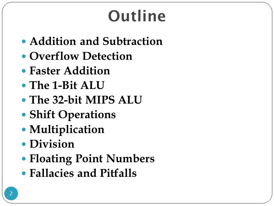 Outline Addition and Subtraction Overflow Detection Faster Addition