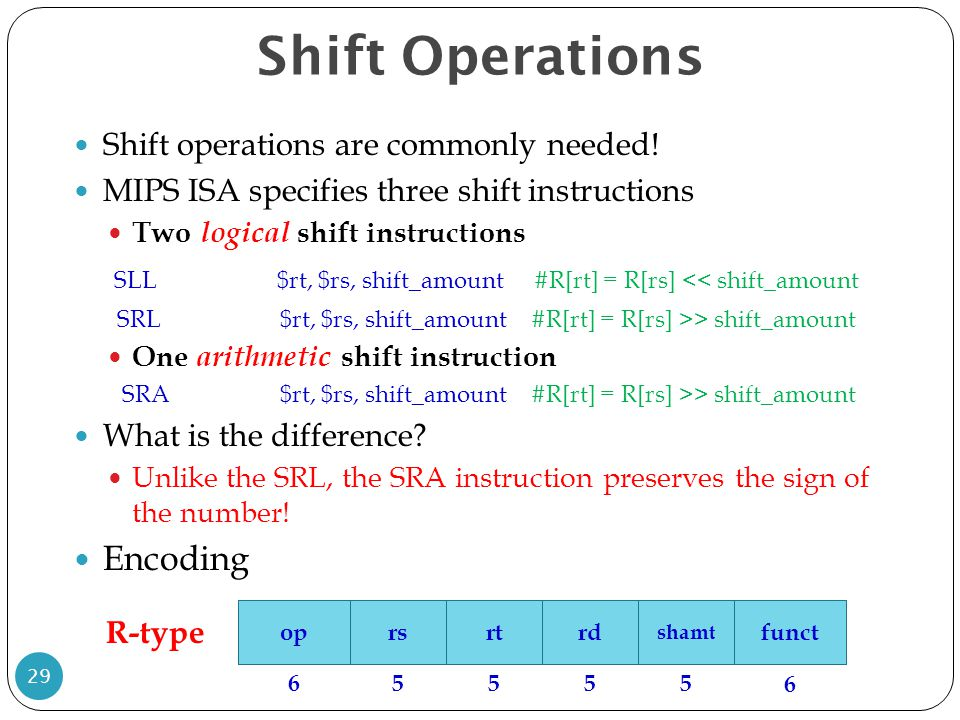 Shift Operations Encoding Shift operations are commonly needed!