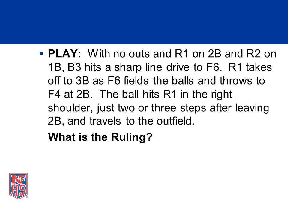 PLAY: With no outs and R1 on 2B and R2 on 1B, B3 hits a sharp line drive to F6. R1 takes off to 3B as F6 fields the balls and throws to F4 at 2B. The ball hits R1 in the right shoulder, just two or three steps after leaving 2B, and travels to the outfield.