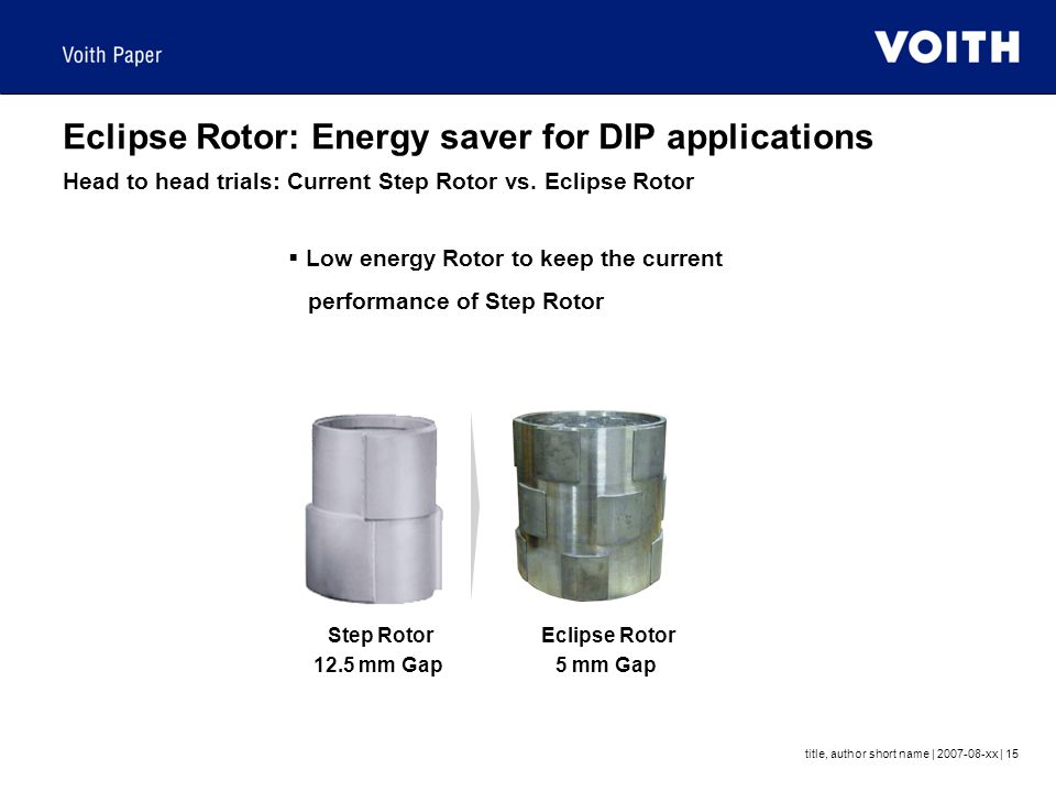 Eclipse Rotor: Energy saver for DIP applications Head to head trials: Current Step Rotor vs. Eclipse Rotor