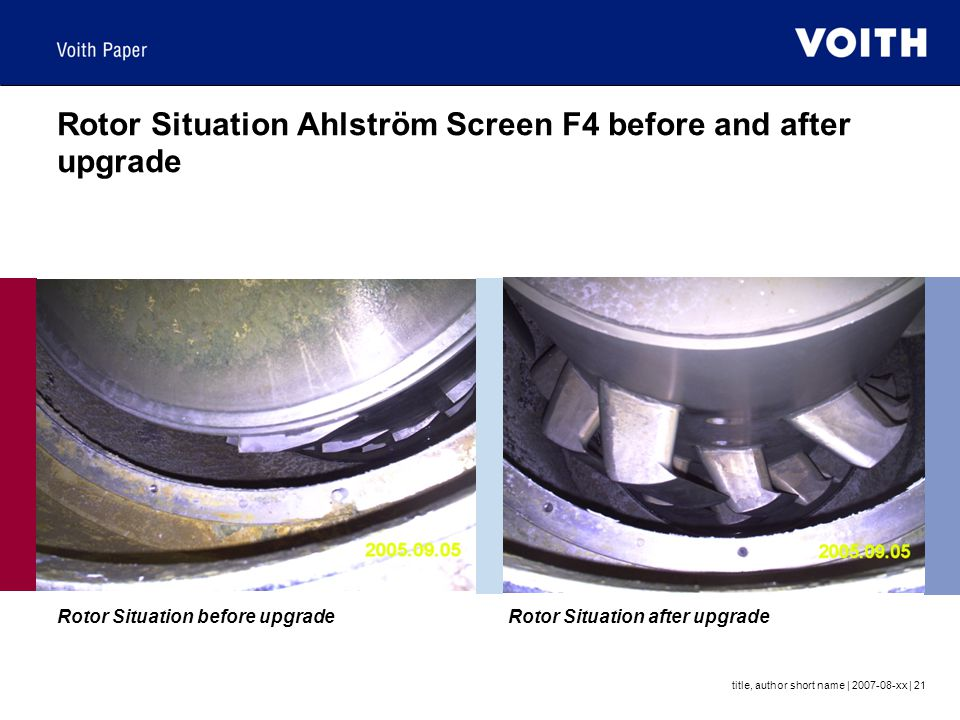 Rotor Situation Ahlström Screen F4 before and after upgrade
