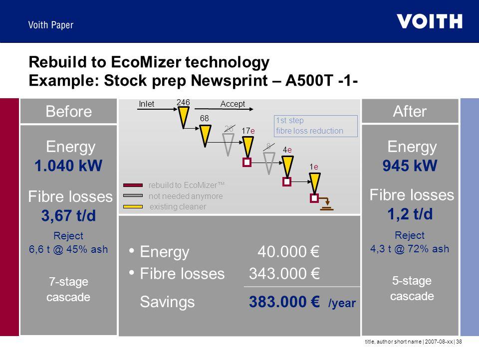 Rebuild to EcoMizer technology Example: Stock prep Newsprint – A500T -1-