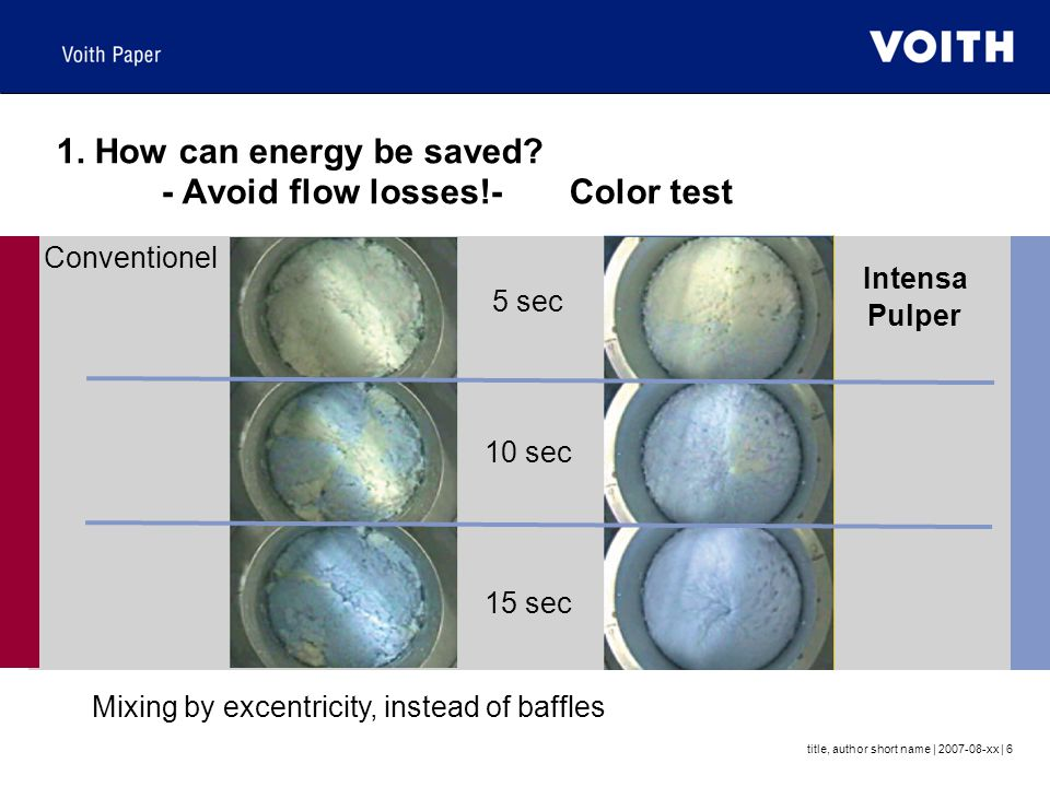 1. How can energy be saved - Avoid flow losses!- Color test