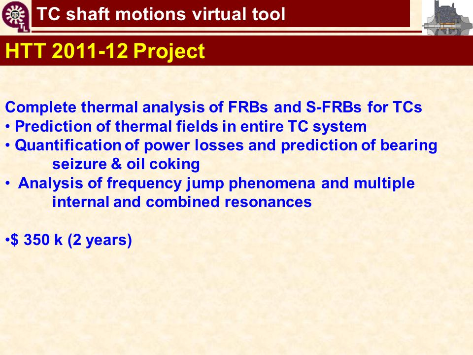 HTT 2011-12 Project Complete thermal analysis of FRBs and S-FRBs for TCs. Prediction of thermal fields in entire TC system.