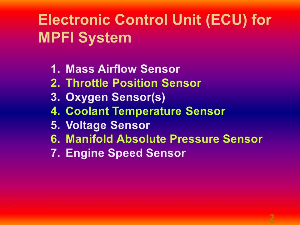 Electronic Control Unit (ECU) for MPFI System