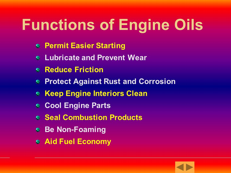 Functions of Engine Oils