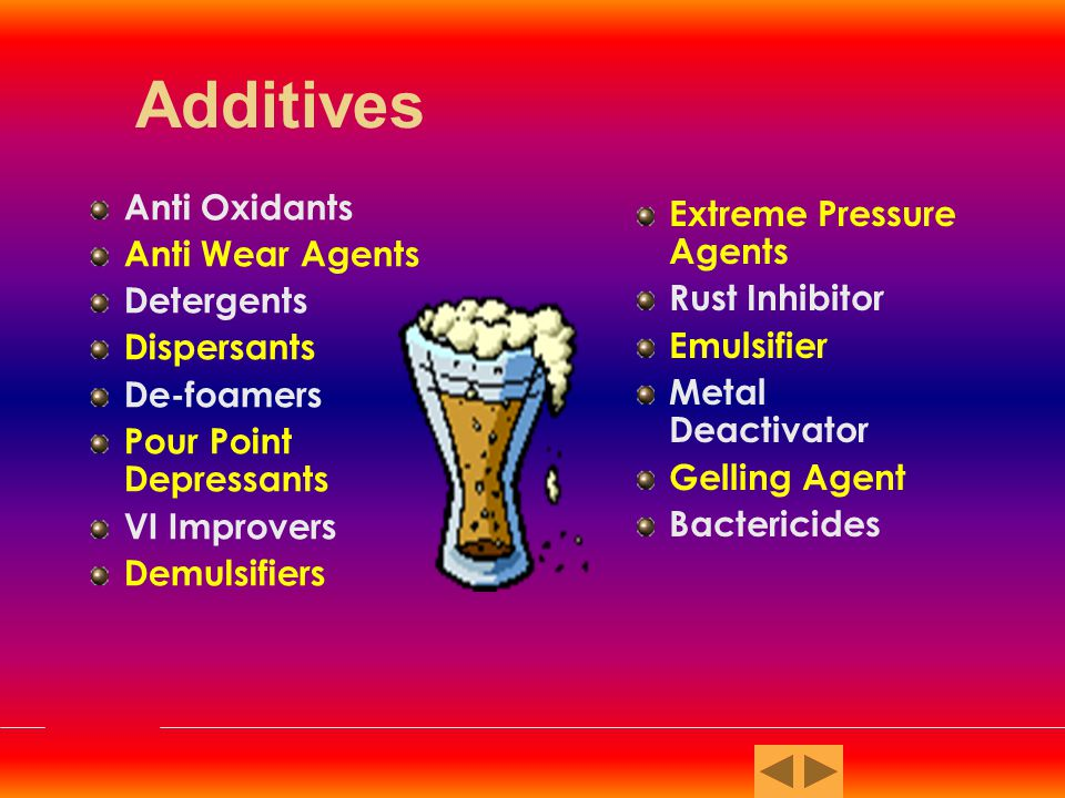 Additives Anti Oxidants Extreme Pressure Agents Anti Wear Agents