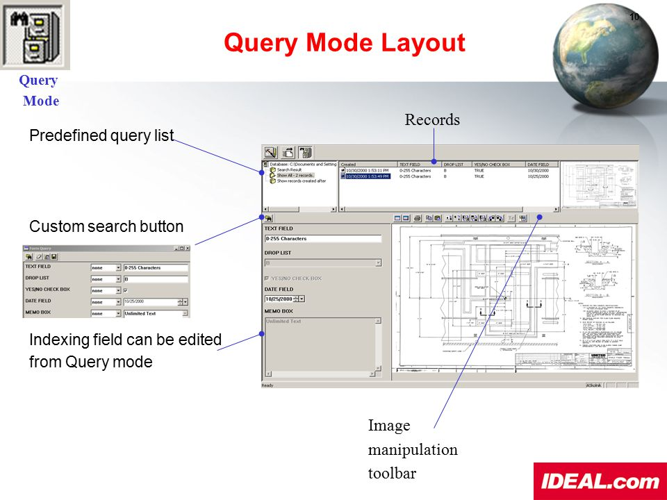 Query Mode Layout Records Image manipulation toolbar