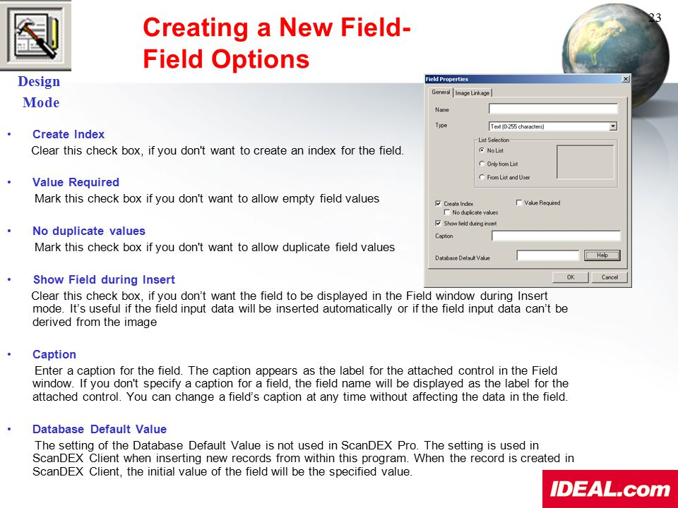 Creating a New Field- Field Options