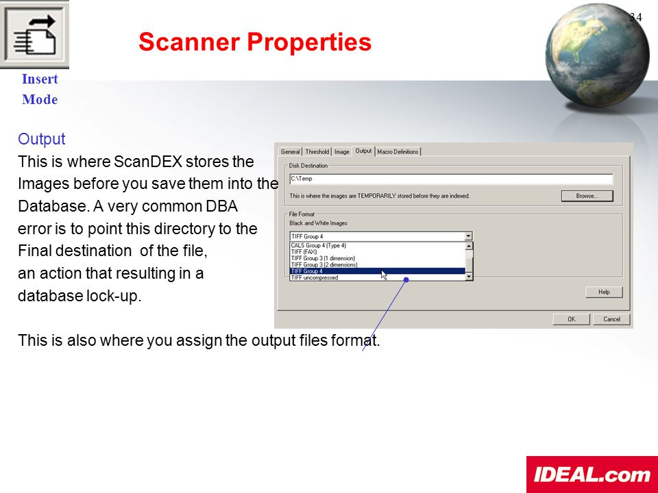 Scanner Properties Output This is where ScanDEX stores the