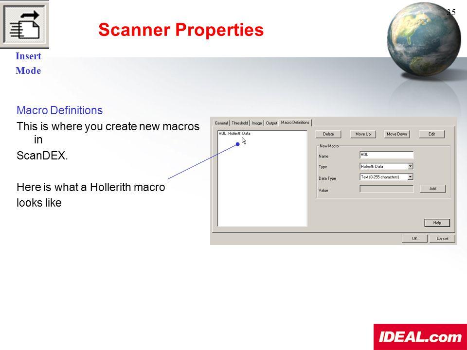 Scanner Properties Macro Definitions