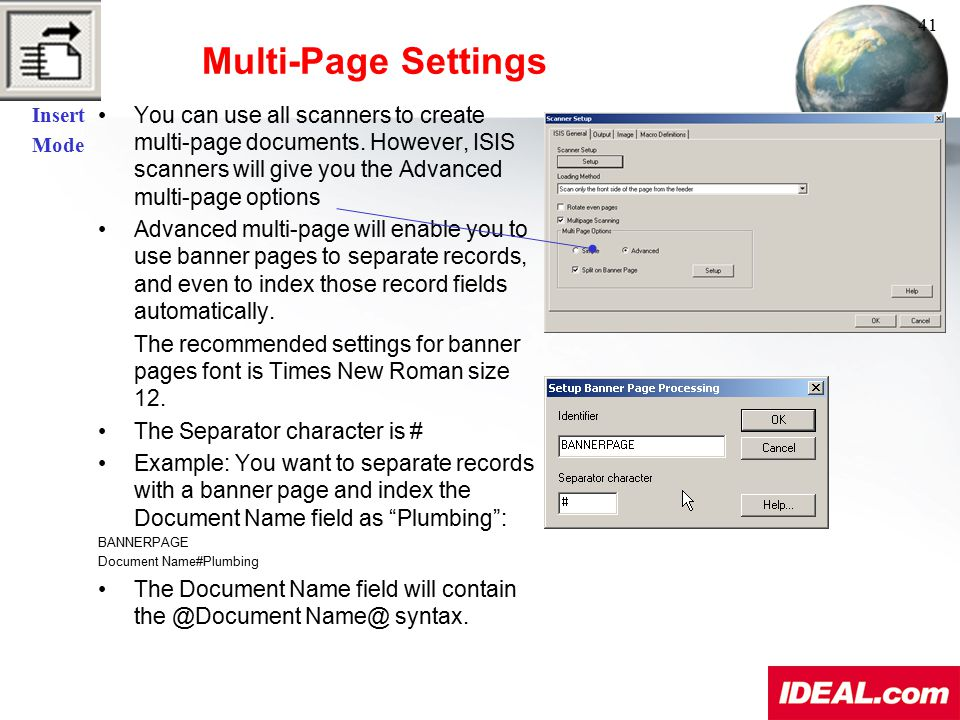 Insert Mode. Multi-Page Settings. 41.