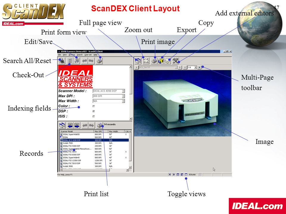 ScanDEX Client Layout Add external editors Full page view Copy