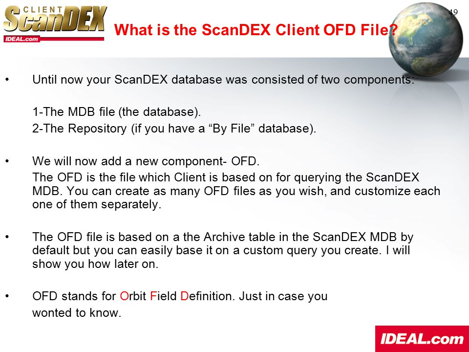 What is the ScanDEX Client OFD File