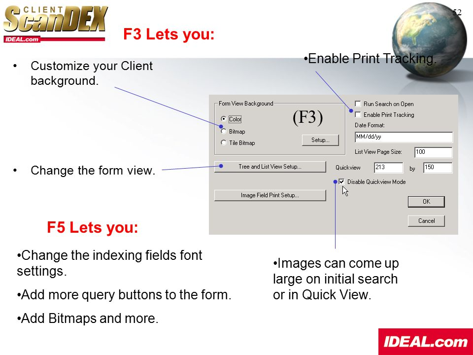 (F3) F3 Lets you: F5 Lets you: Enable Print Tracking.