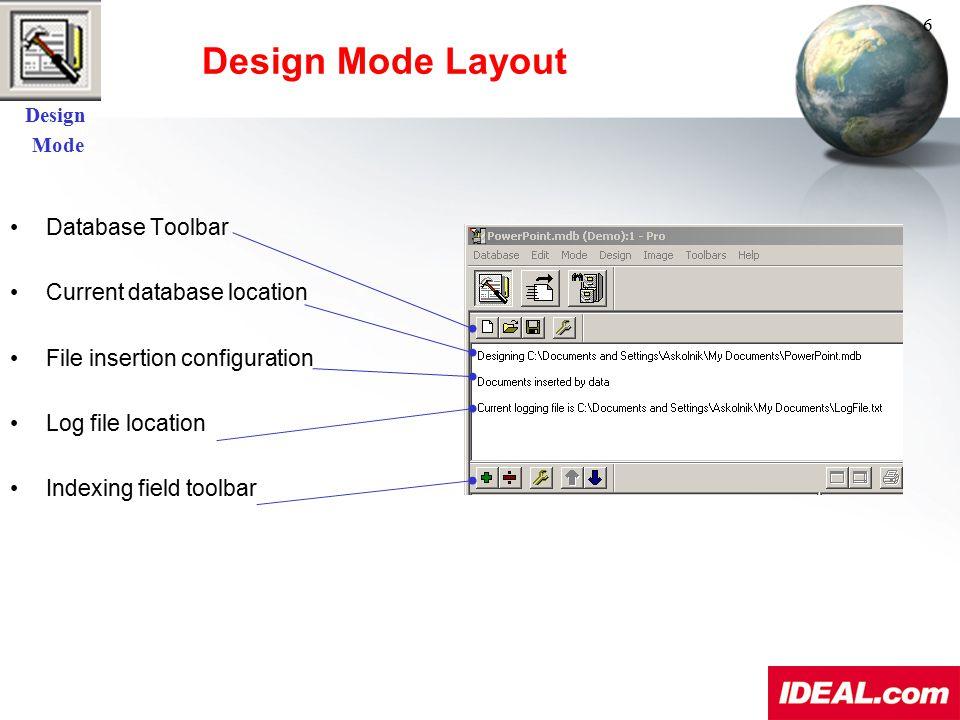 Design Mode Layout Database Toolbar Current database location