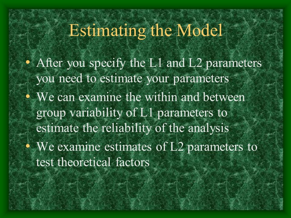 Estimating the Model After you specify the L1 and L2 parameters you need to estimate your parameters.