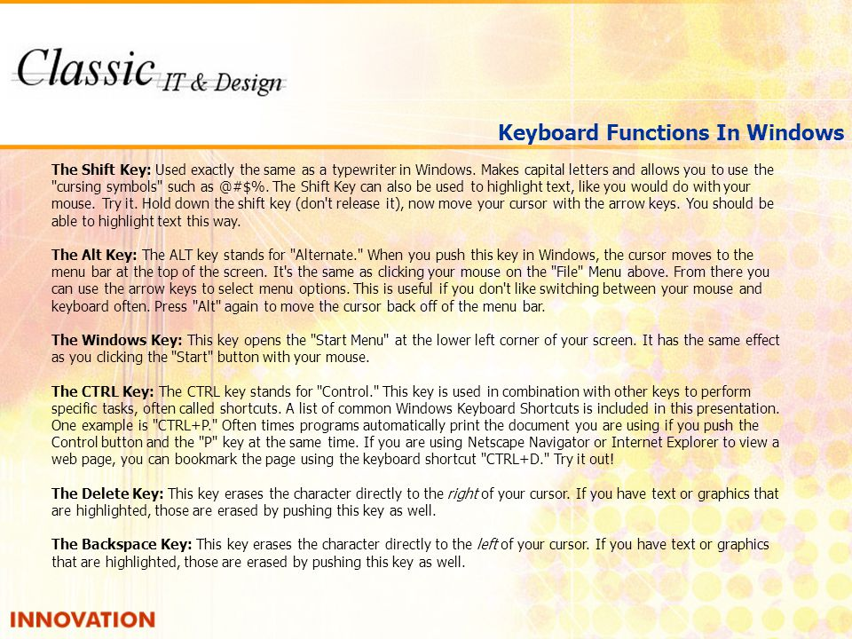 Keyboard Functions In Windows