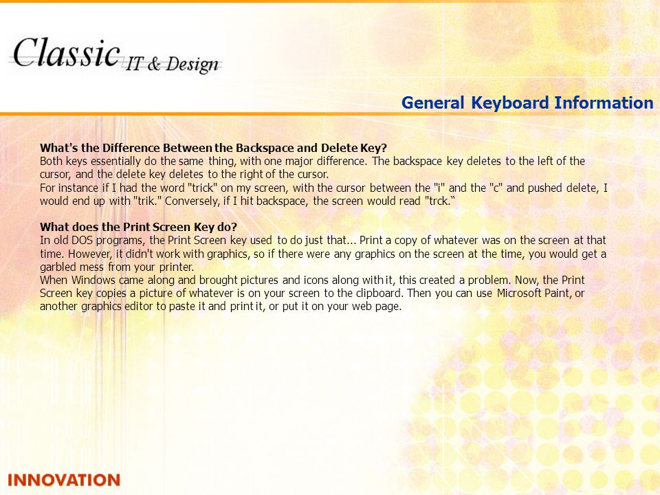 General Keyboard Information