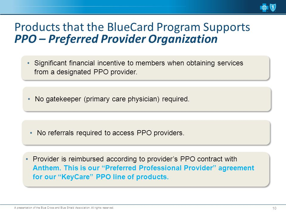 Products that the BlueCard Program Supports PPO – Preferred Provider Organization