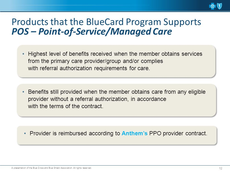Products that the BlueCard Program Supports POS – Point-of-Service/Managed Care
